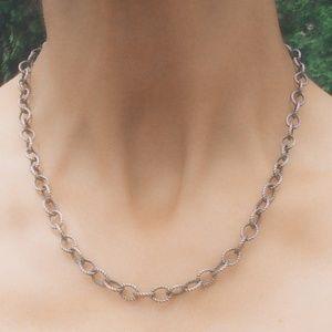 Vintage Signed Sterling Silver Cable Link Necklace